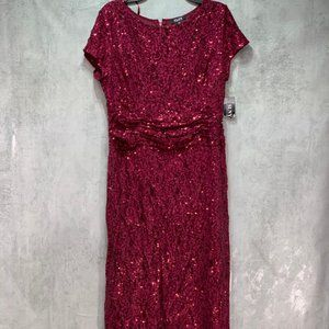 SL Fashions Garnet Red Sequined Lace Short Sleeve